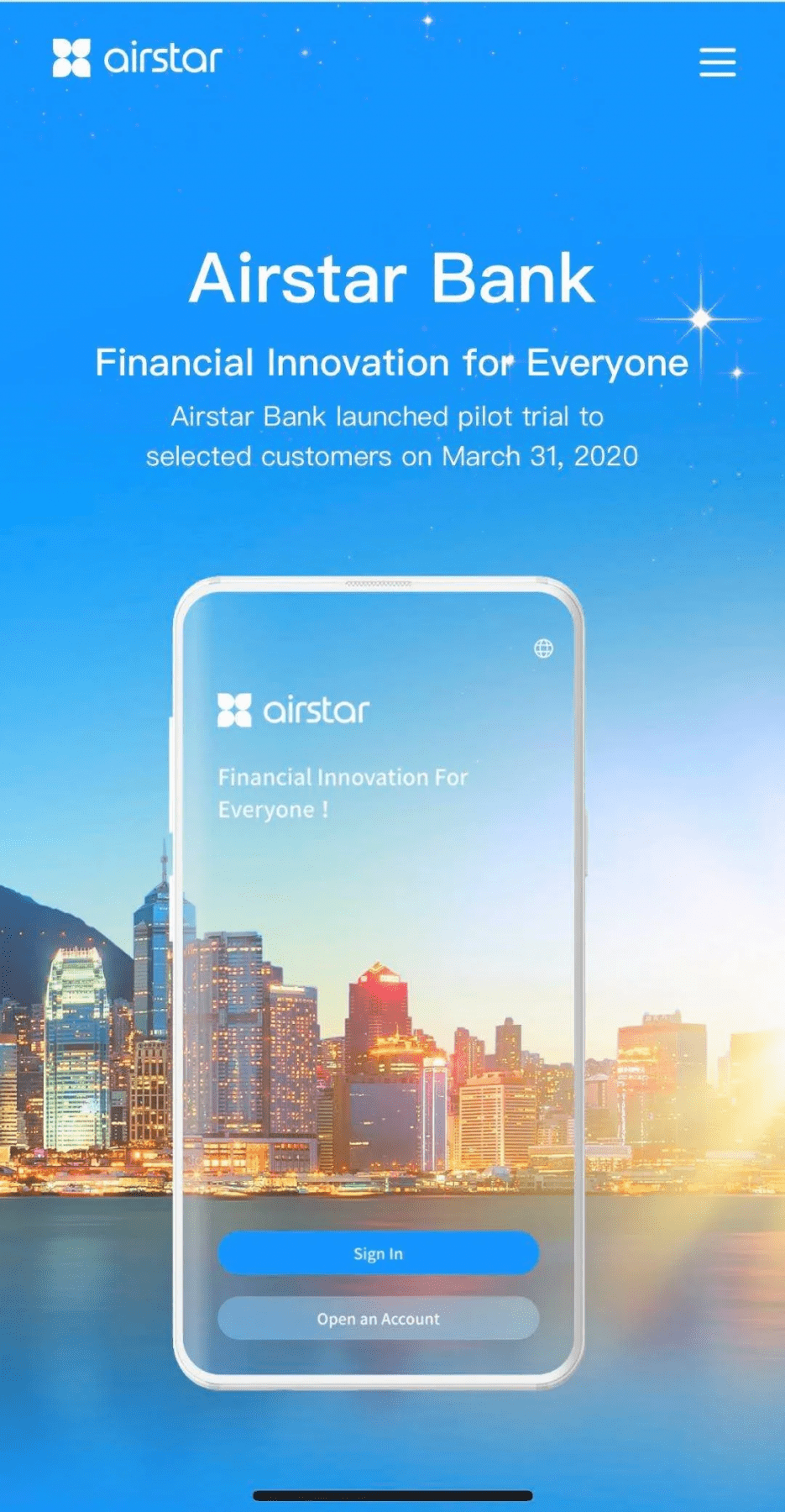 Airstar Bank Launches Pilot Trial of Virtual Banking Service